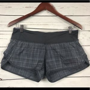 Lululemon Speed Shorts - Plaid Coal Shale, Size 6
